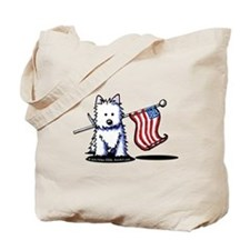 US Flag Westie Tote Bag