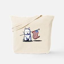 US Flag Westie Tote Bag