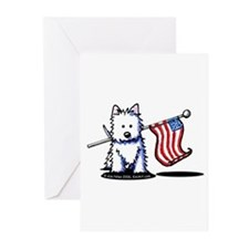US Flag Westie Greeting Cards (Pk of 20)