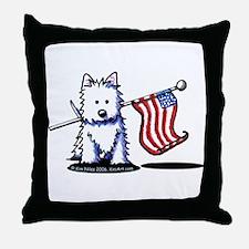 US Flag Westie Throw Pillow