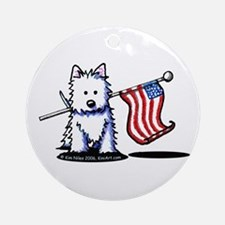 US Flag Westie Ornament (Round)
