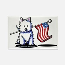 US Flag Westie Rectangle Magnet