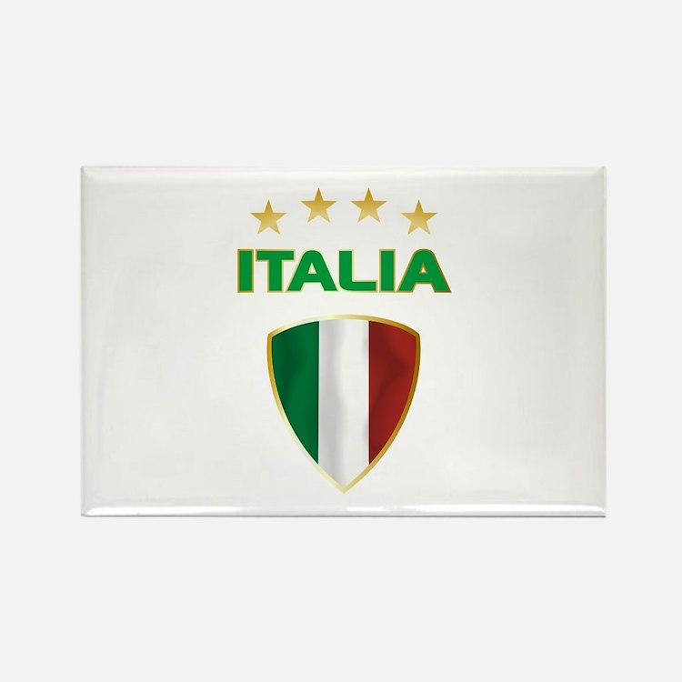 Soccer Crest ITALIA gold Rectangle Magnet