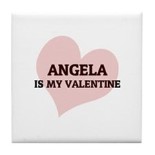 Angela Is My Valentine Tile Coaster