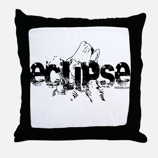 Eclipse Howling Wolf by Twibaby Throw Pillow