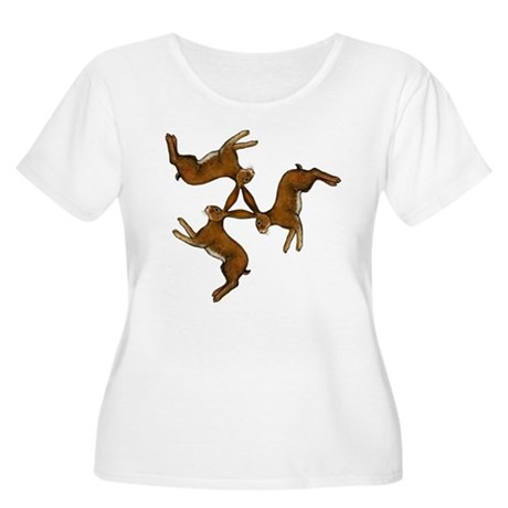 Splitting Hares Women's Plus Size Scoop Neck T-Shi