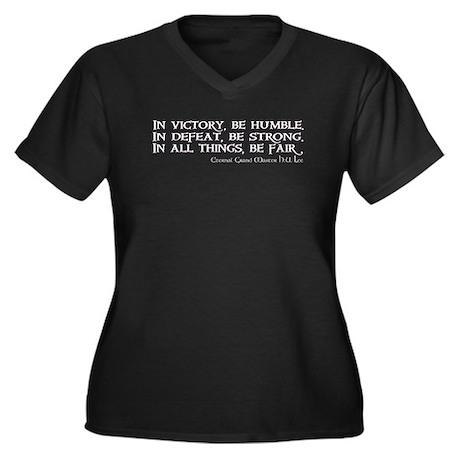 HU Lee quote Women's Plus Size V-Neck Dark T-Shirt