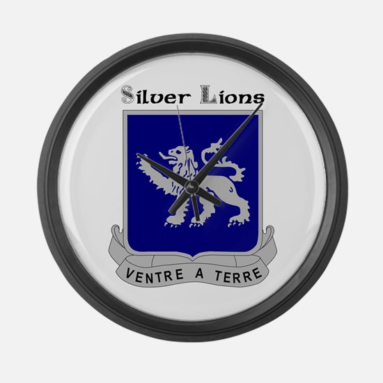 Silver Lions Large Wall Clock