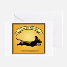 Flying Wiener Dog Greeting Card