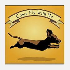 Flying Wiener Dog Tile Coaster
