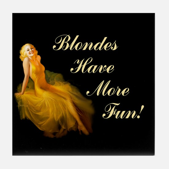 Blonde Pin-Up Tile Coaster
