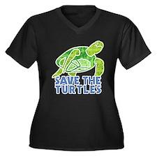 Save the Turtles Women's Plus Size V-Neck Dark T-S
