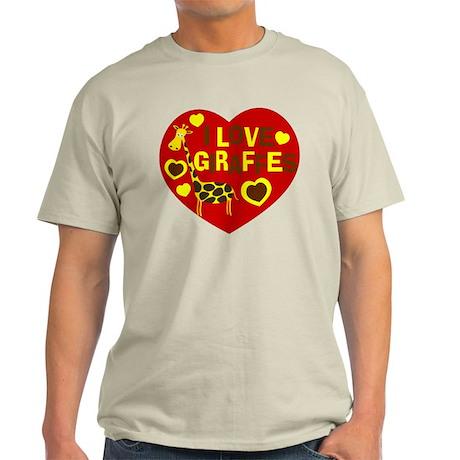 I Love Giraffes Light T-Shirt