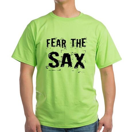 Fear The Saxophones Green T-Shirt