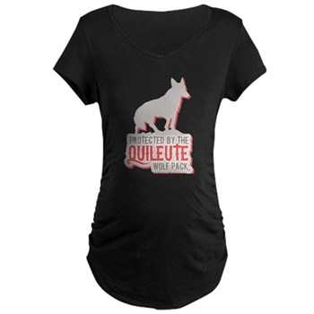Protected by Quileute Wolfpac Maternity Dark T-Shi