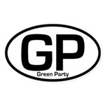 GP: Green Party oval bumper sticker