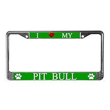 Green I Love My Pit Bull License Plate Frame