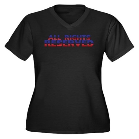 All Rights Reserved Women's Plus Size V-Neck Dark