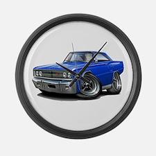 1967 Coronet Blue Car Large Wall Clock