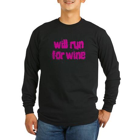 Will run for wine Long Sleeve Dark T-Shirt