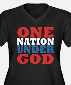 One Nation Under God Women's Plus Size V-Neck Dark