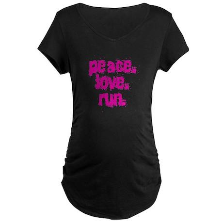 Peace Love Run Maternity Dark T-Shirt