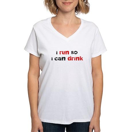 i run so i can drink Women's V-Neck T-Shirt