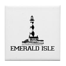 Emerald Isle NC - Lighthouse Design Tile Coaster