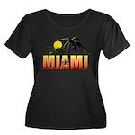 Miami Women's Plus Size Scoop Neck Dark T-Shirt