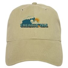 Emerald Isle NC - Waves Design Baseball Cap