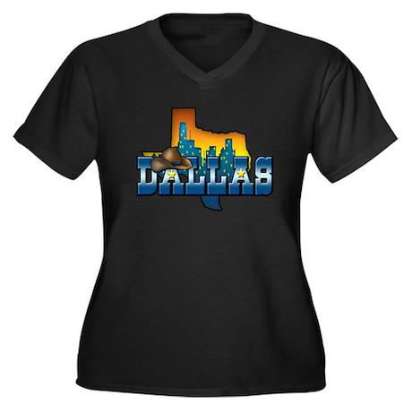 Dallas Women's Plus Size V-Neck Dark T-Shirt