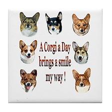 A Corgi a Day Brings a Smile Tile Coaster
