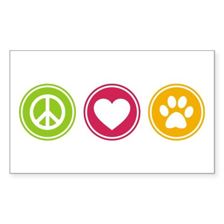 Peace - Love - Dogs Sticker (Rectangle)