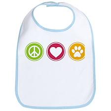 Peace - Love - Dogs Bib
