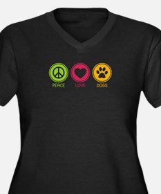 Peace - Love - Dogs 1 Women's Plus Size V-Neck Dar