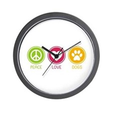 Peace - Love - Dogs 1 Wall Clock