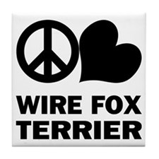 Peace Love Wire Fox Terrier Tile Coaster