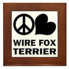 Peace Love Wire Fox Terrier Framed Tile