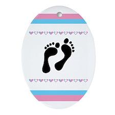Black Footprints Ornament (Oval)