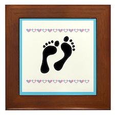 Black Footprints Framed Tile