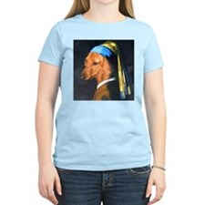 Dog with Pearl Earring Dachshund Women's Pink T-S