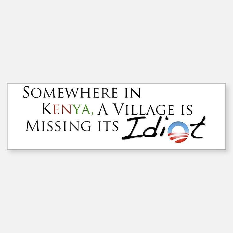 Obama, Kenyan Idiot Bumper Bumper Sticker