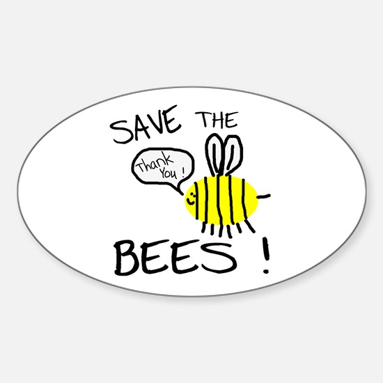Save the Bees Sticker (Oval)