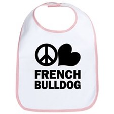 Peace Love French Bulldog Bib