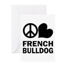 Peace Love French Bulldog Greeting Card