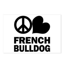 Peace Love French Bulldog Postcards (Package of 8)