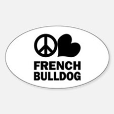 Peace Love French Bulldog Decal