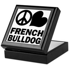 Peace Love French Bulldog Keepsake Box