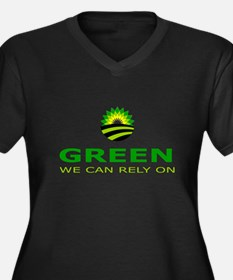 green we can rely on Women's Plus Size V-Neck Dark