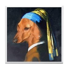 Dog with Pearl Earring Dachshund Tile Coaster